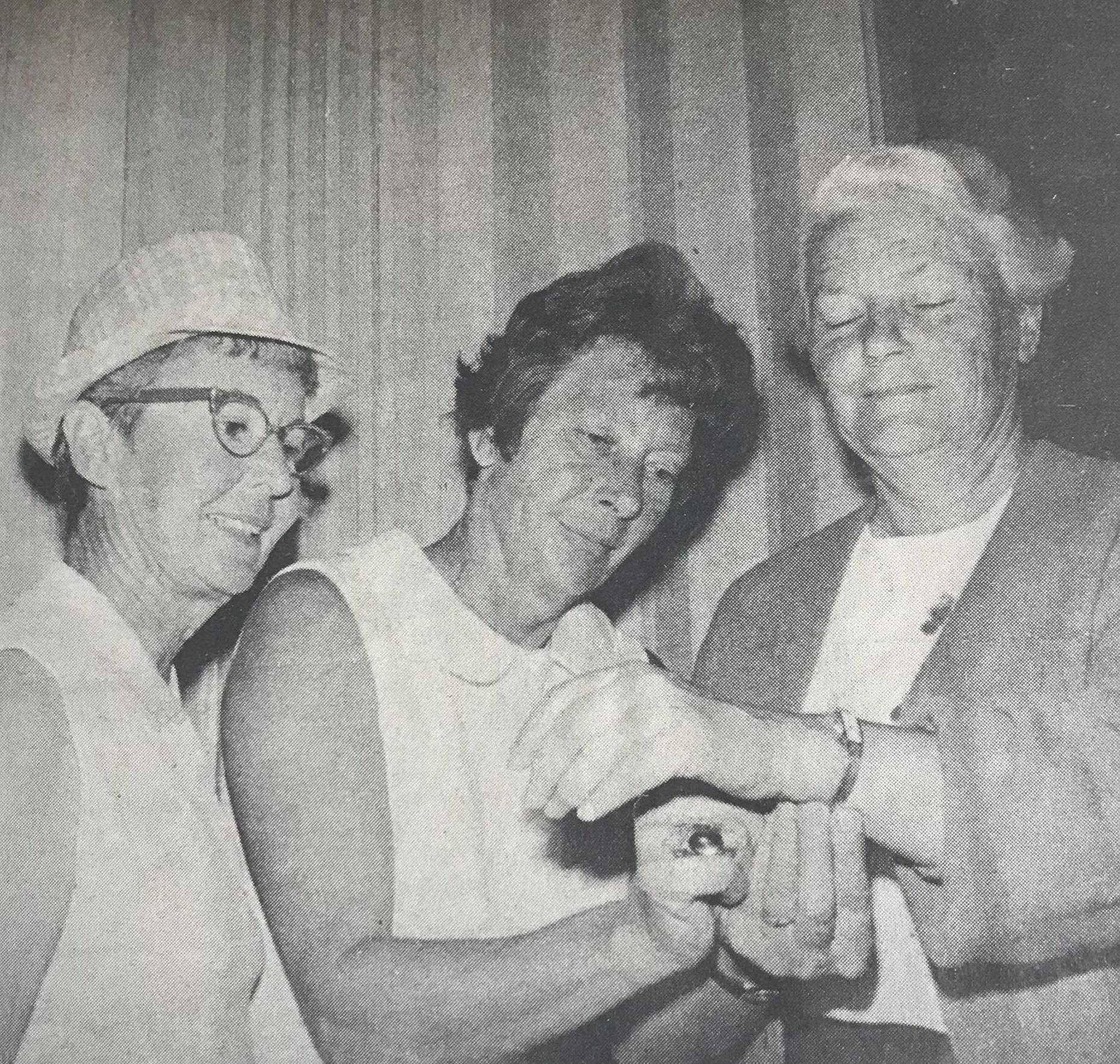 MESDAMES LAPHAM (L), WESTON ADMIRE MILDRED JUDE'S GOLD WATCH  Miss Jude won Pacific Women's Golf Association Championship