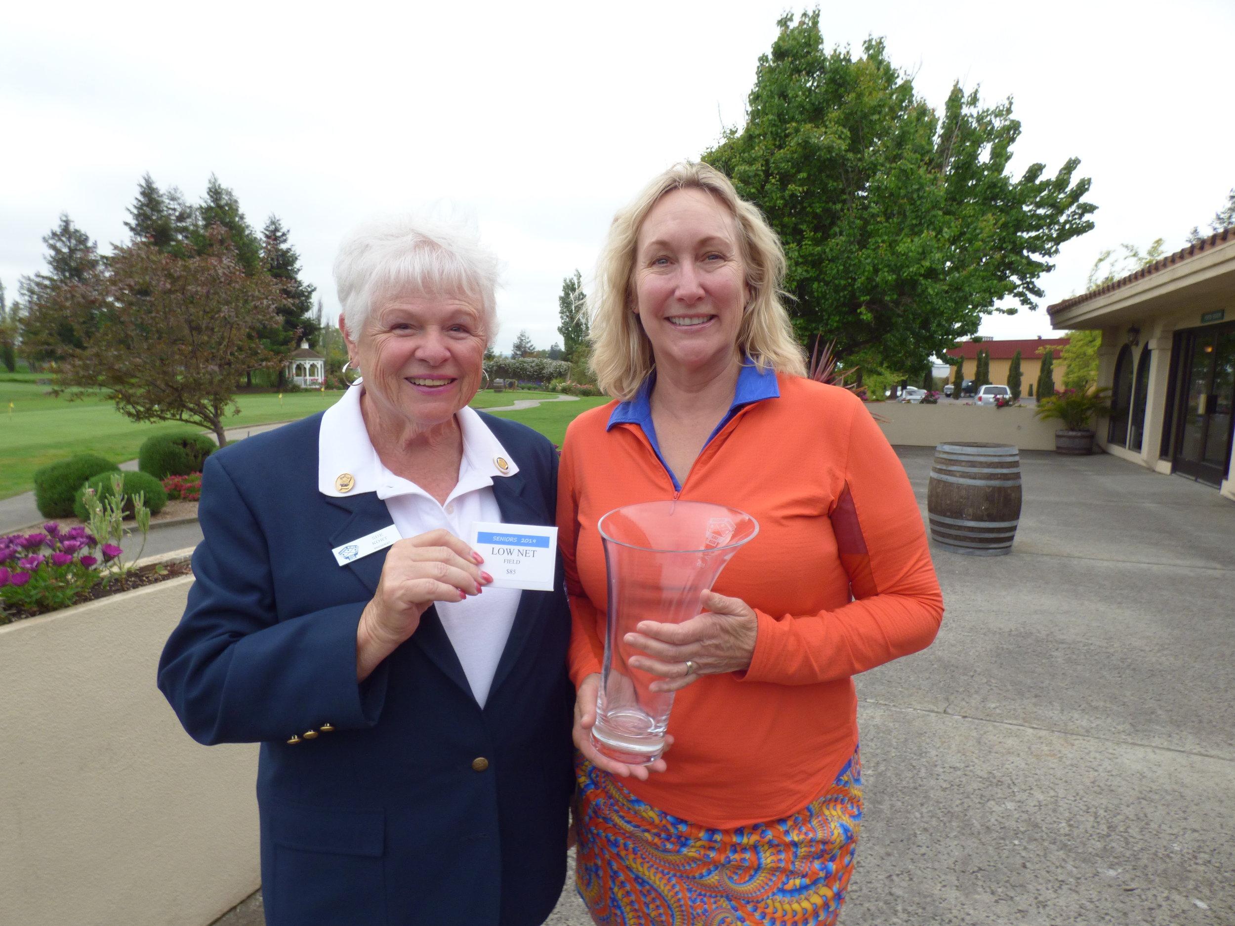 Seniors Over the Field Winner - Monica Nowak with PWGA President Sue Kort (not pictured Deb Robertson)