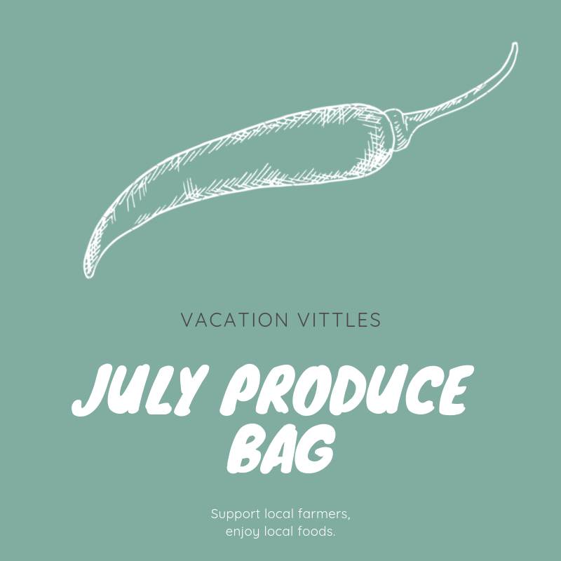 July Produce Bag   $45.00   In July, the Vacation Vittles Produce Bag will contain enough fresh produce to feed a family of four at least three servings of fruit and vegetables for the week. Listed below are the types of fruit and vegetables typically included in a July produce bag; however, the actual contents of your bag will vary depending on each week's harvest.   Summer and zucchini squash    Blueberries and watermelon    Variety of tomatoes    Sweet corn    Herbs and cucumbers    Green beans and okra    Peaches and grapes    Variety of peppers    Variety of lettuces and radish   Each customer vacationing in Sunset Beach during the month of July may order one or more bags of produce.