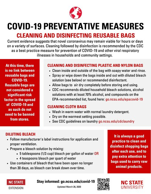 COVID-19 Cleaning Reusable Bags by NC Extension