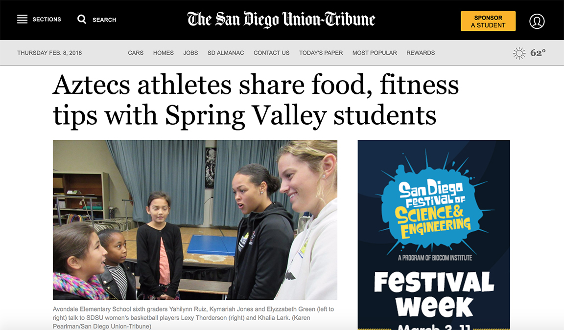 La Mesa-Spring Valley Schools - Earlier this year the San Diego Union-Tribunecame out to cover a visit to Avondale Elementary School by members of the San Diego State University Women's Basketball Team(Go Aztecs!). Avondale is in the La Mesa-Spring Valley School District, and we worked with the district's Child Nutrition Departmentto have the SDSU players share their stories about the importance of wellness and nutrition. Avondale students had a blast talking with the players, sharing stories about favorite foods, shoes, athletes and more.