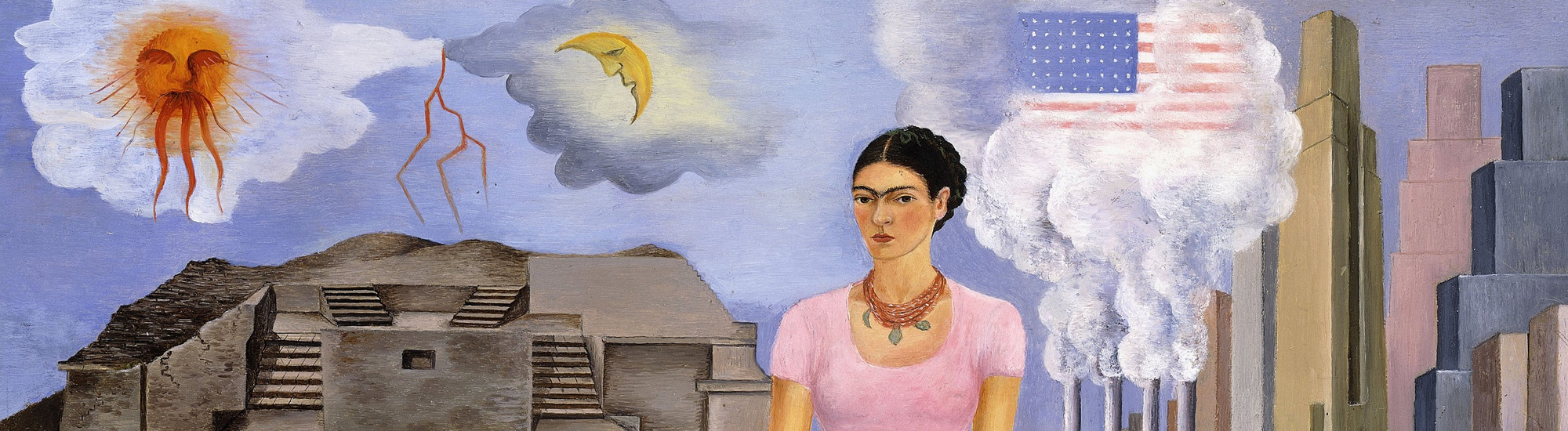 Frida Kahlo,  Self Portrait on the Border between Mexico and the United States of America , 1932, oil painting on tin, private collection (detail)