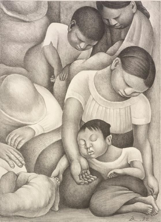Diego Rivera, Sleep (El Sueno), 1932, Lithograph on Paper, RISD Museum