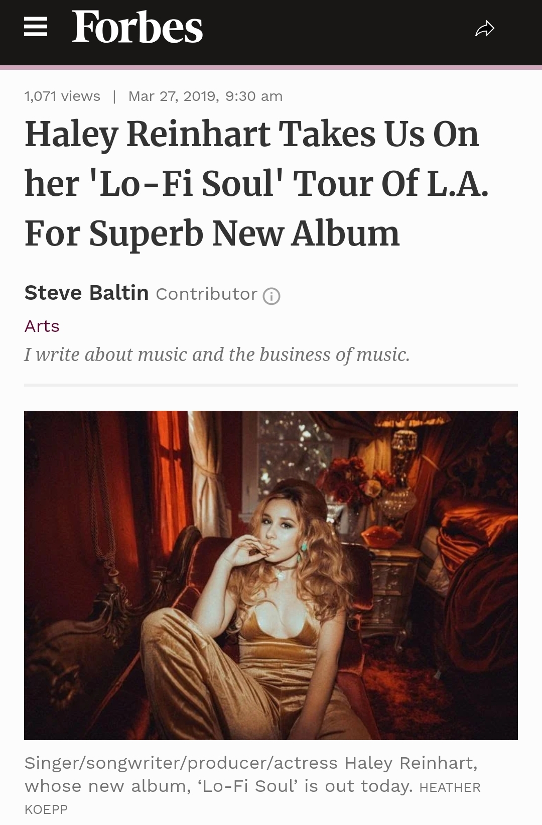 Forbes - https://www.forbes.com/sites/stevebaltin/2019/03/27/haley-reinhart-takes-us-on-her-lo-fi-soul-tour-of-l-a-for-superb-new-album/