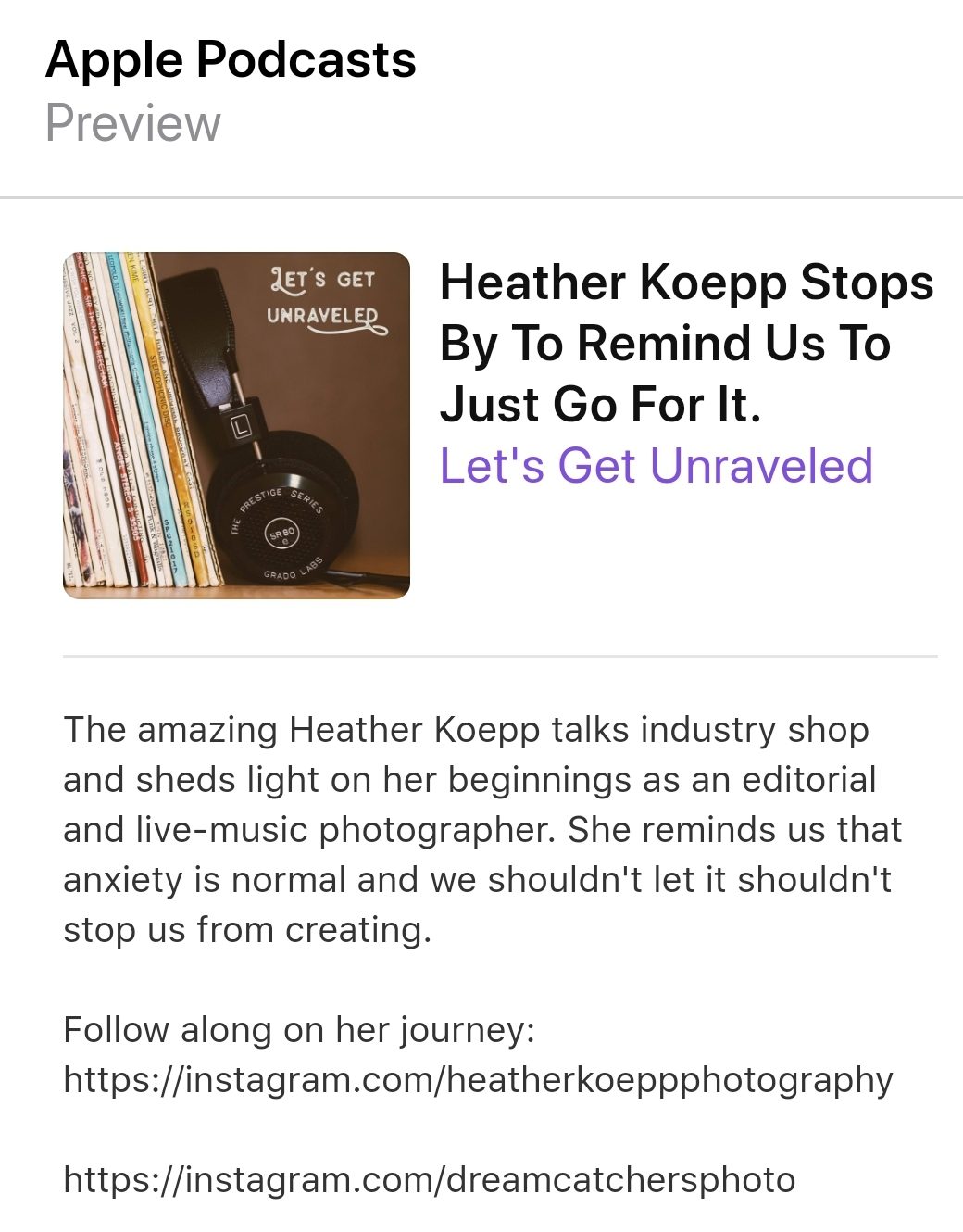 Podcast: listen to Heather's interview with 'THE UNRAVELED ACADEMY'https://soundcloud.com/lets-get-unraveled/heather-koepp-stops-by-to-remind-us-to-just-go-for-it -