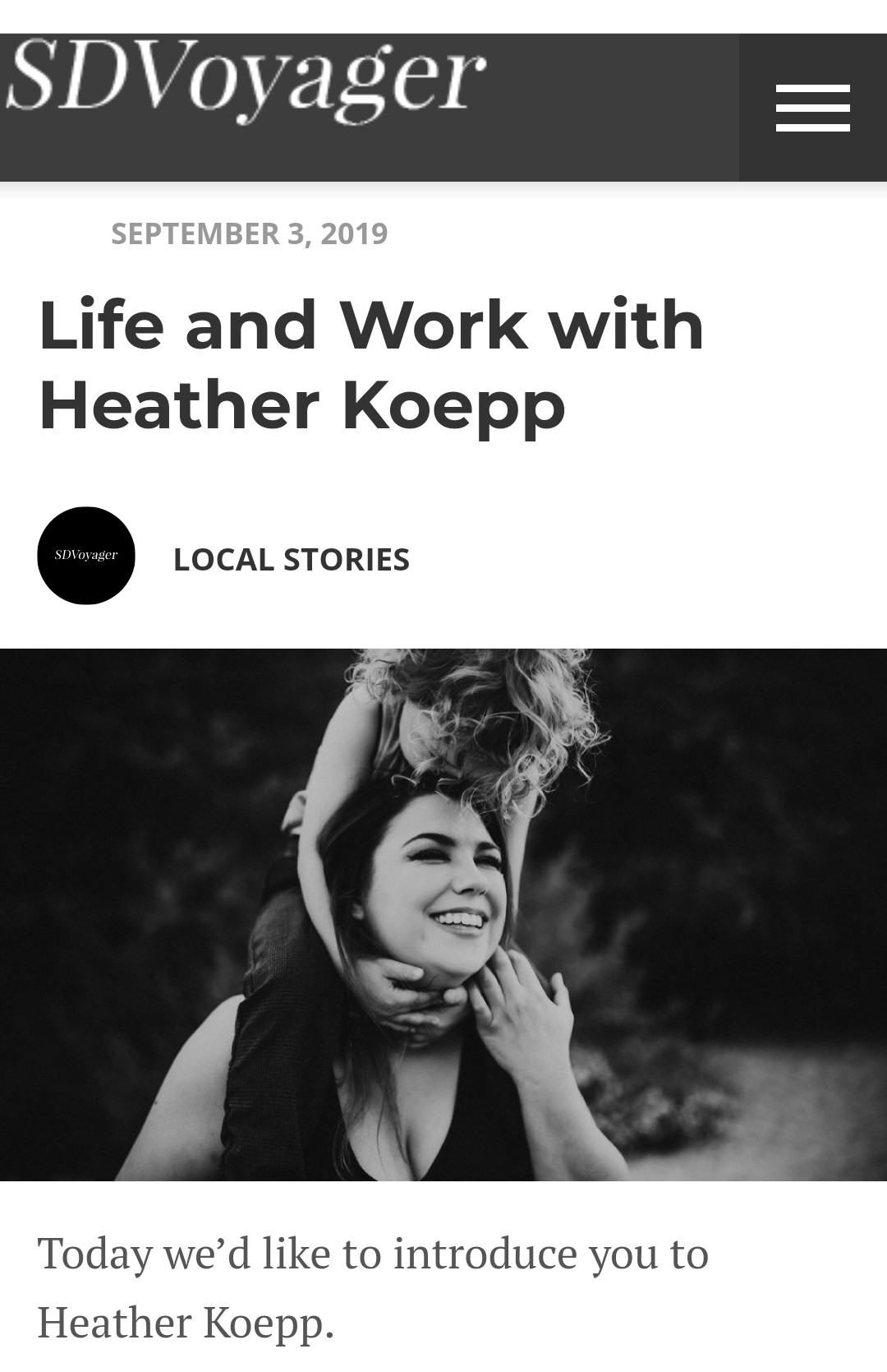 Read Heather's Interview with SD VOYAGER to learn more about Her LIFE AND WORK  - http://sdvoyager.com/interview/life-work-heather-koepp/?fbclid=IwAR1g77YYfZ9H-9kFjyEVQnV4PNoZFwGqp6sNiRsG261bPEcfKqErEISpe7U