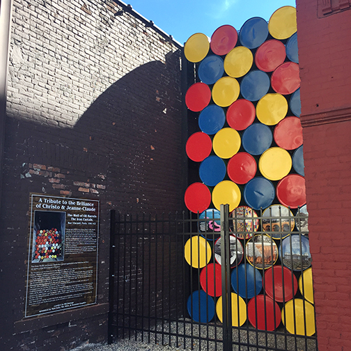 """A """"Tribute to the Brilliance of Christo & Jeanne-Claude"""" by Bill Ramage, 2016, West Street."""