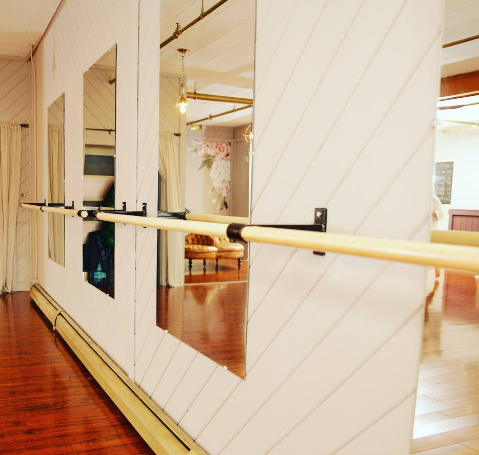 A view of the barre at Triumph Barre & Pilates Studio on Center Street.