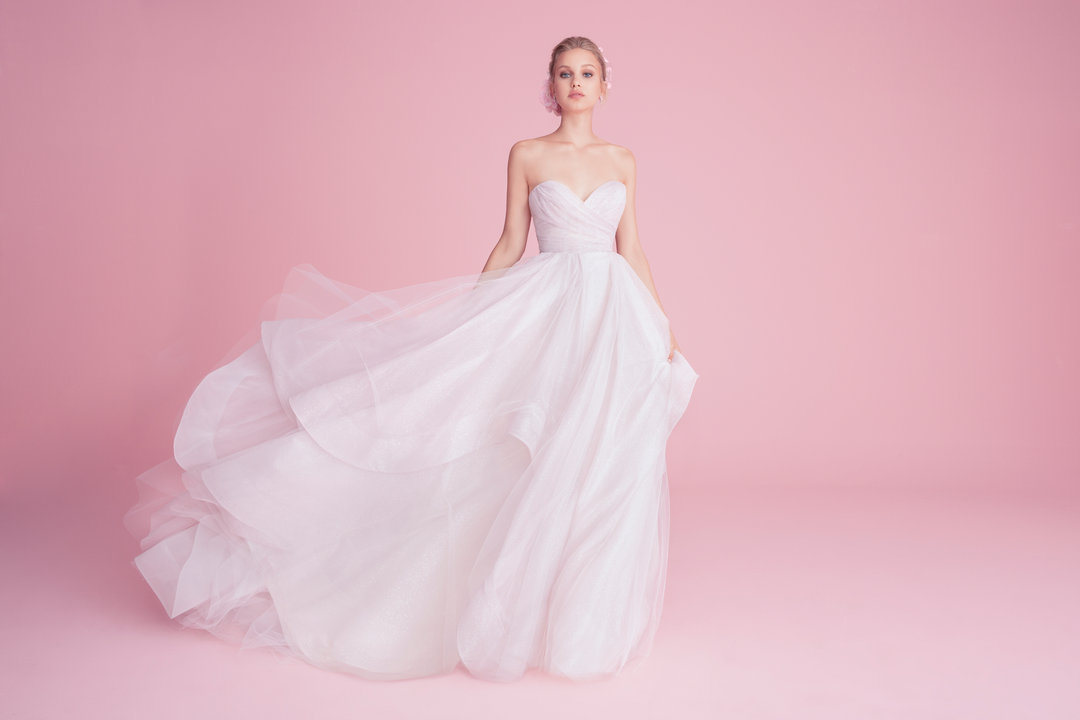 A Hayley Page bridal gown - a brand of gown that can be found at Amber Sprott Boutique in Downtown Rutland.