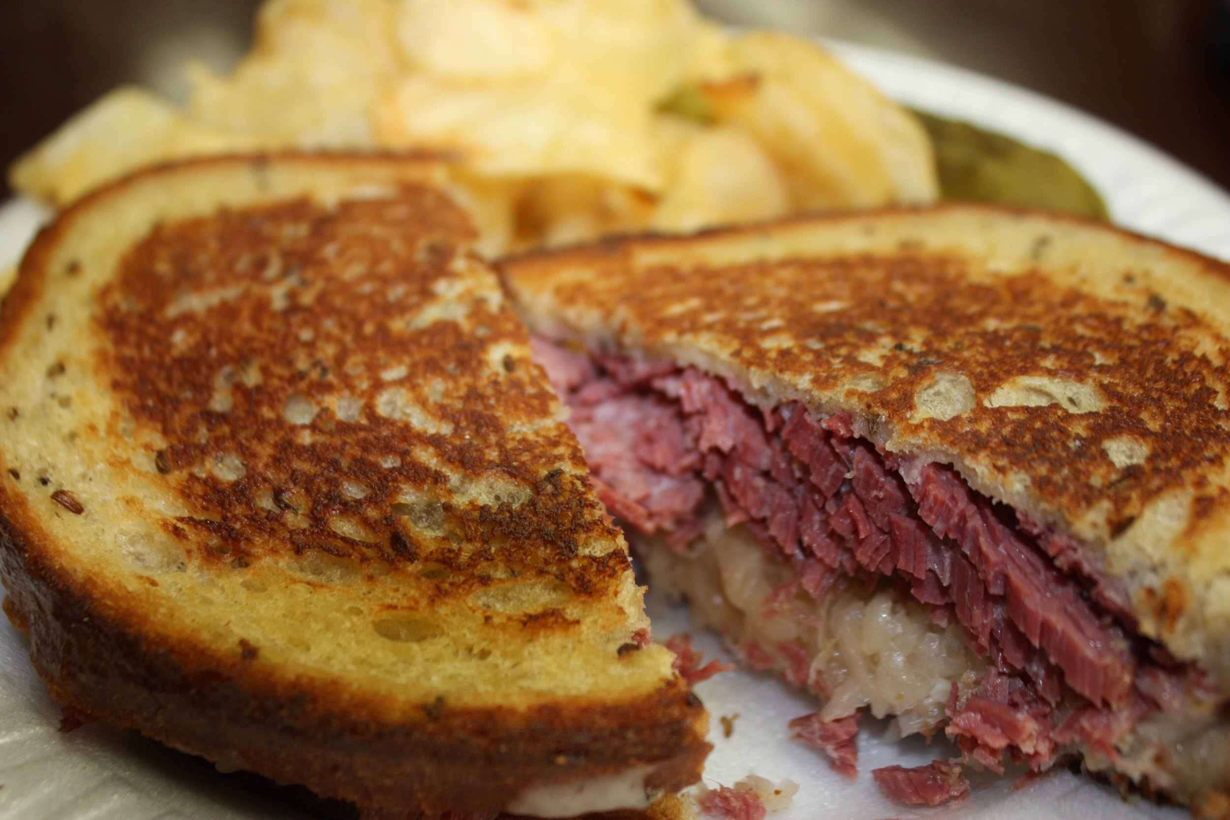 A perfectly-toasted Reuben from Hand Carved by Ernie available in Downtown Rutland.