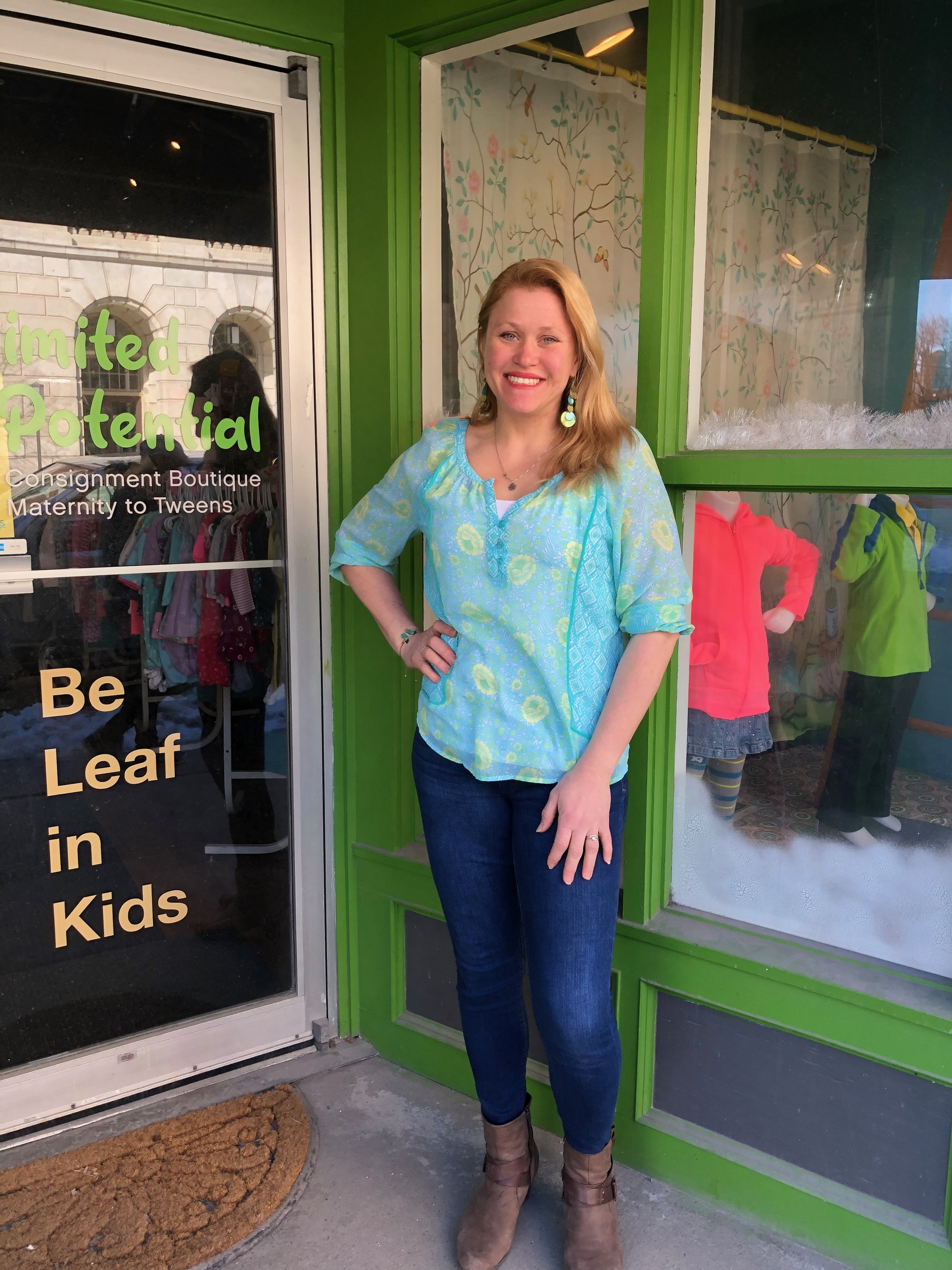 Jessi Travers stands in front of Unlimited Potential in Downtown Rutland.