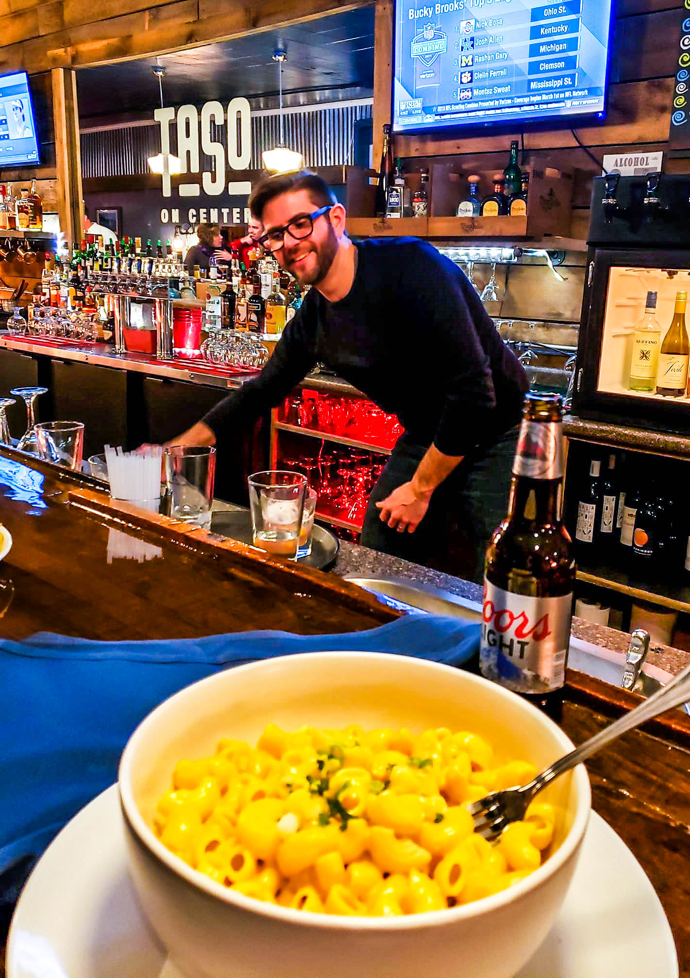 Jim Sabataso bartends at Taso on Center in Downtown Rutland, VT. Photo credit:  William Jalbert
