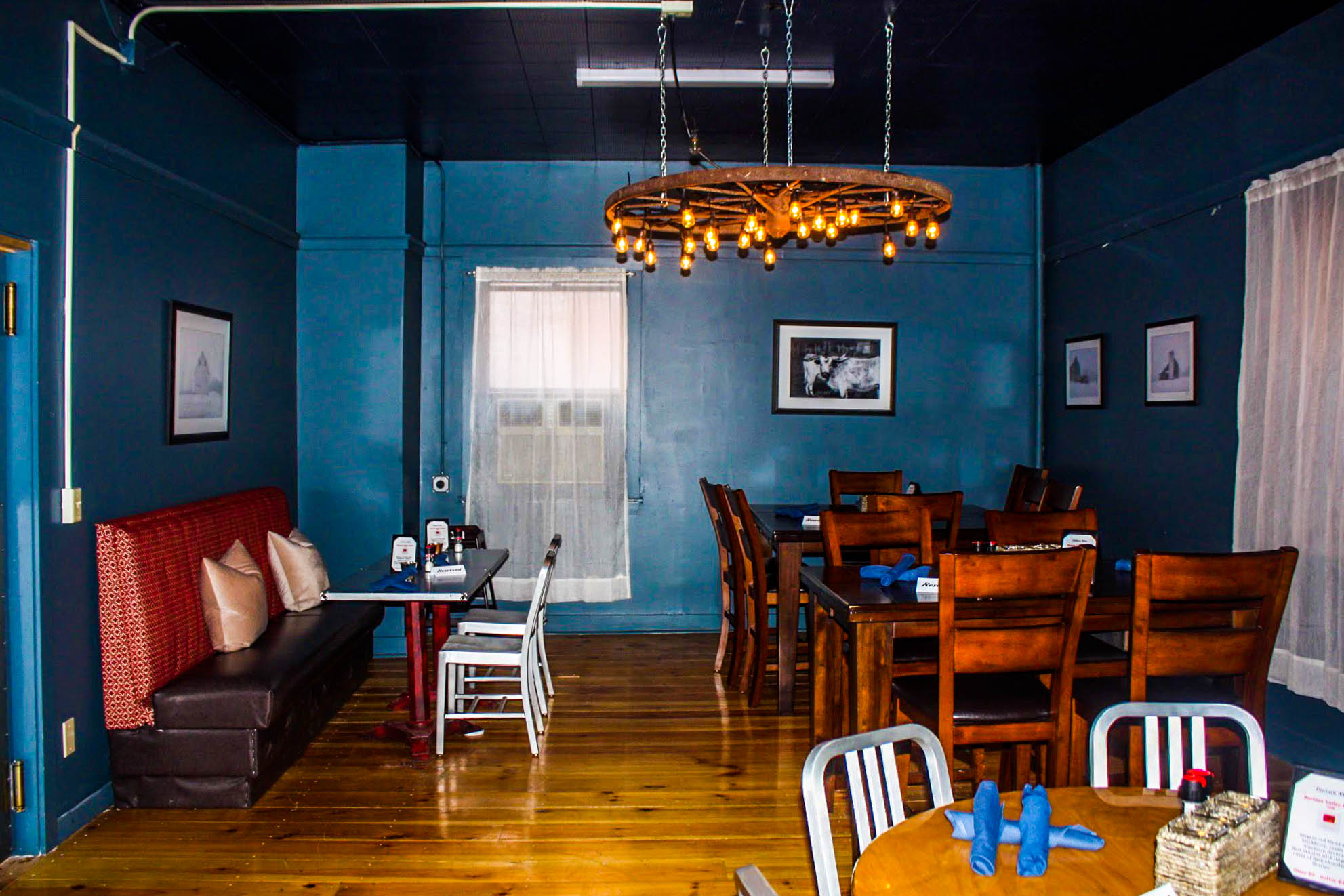The rear dining area of Taso on Center in Downtown Rutland, Vermont.