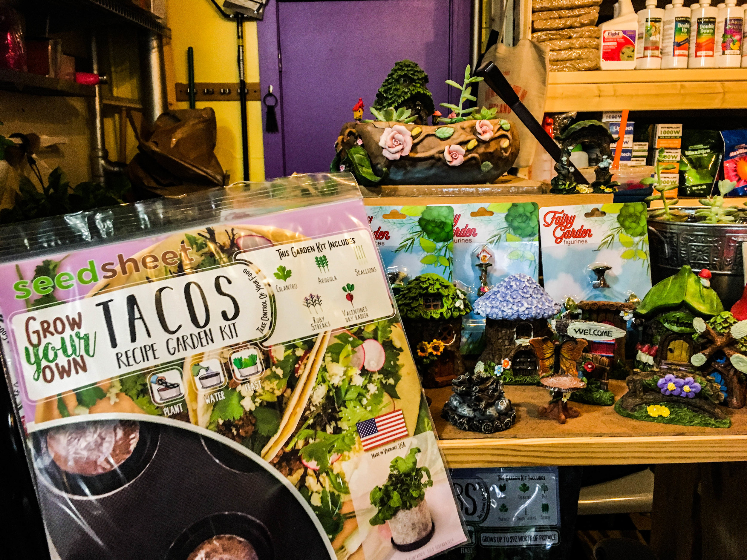 "A ""Grow Your Own Tacos Recipe Garden Kid"" from Seed Sheet with garden accessories at Grow Vermont."