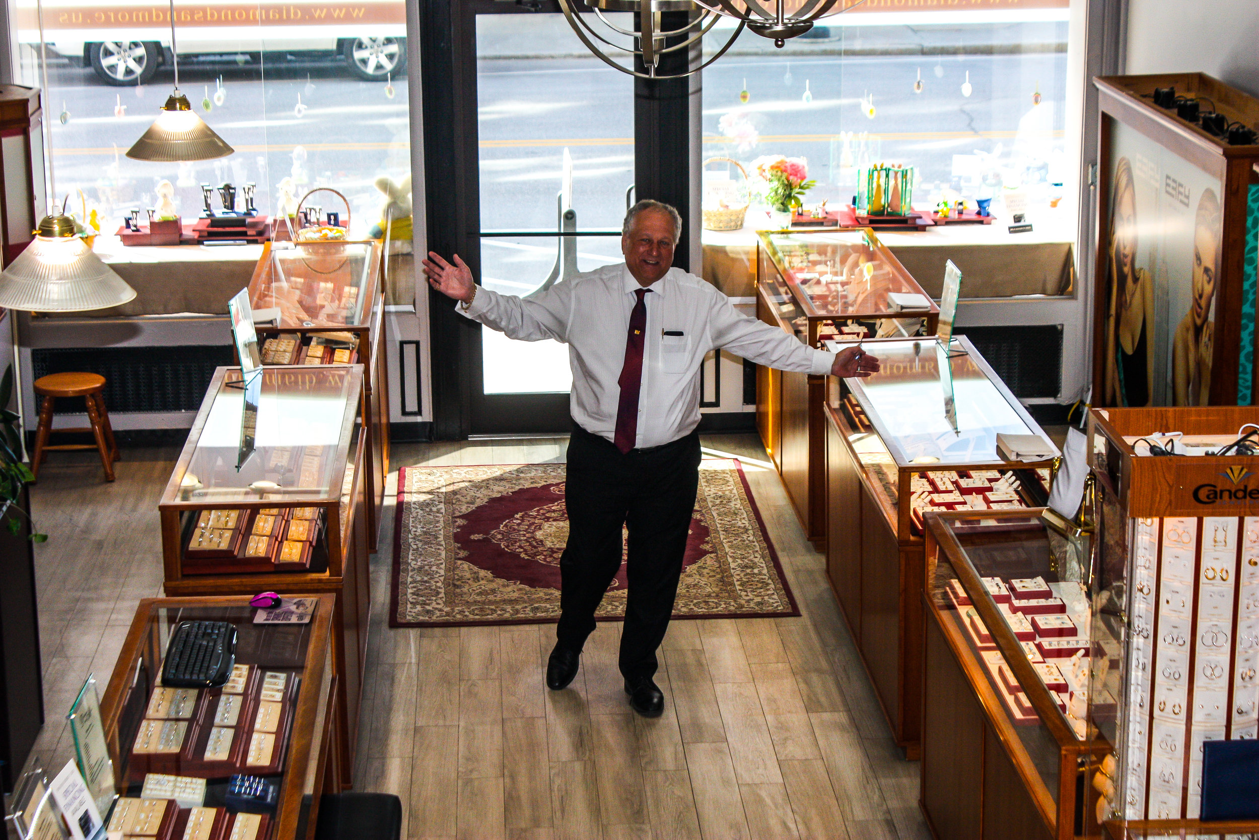 Ivan Rochon stands in Diamonds and More with his inventory.