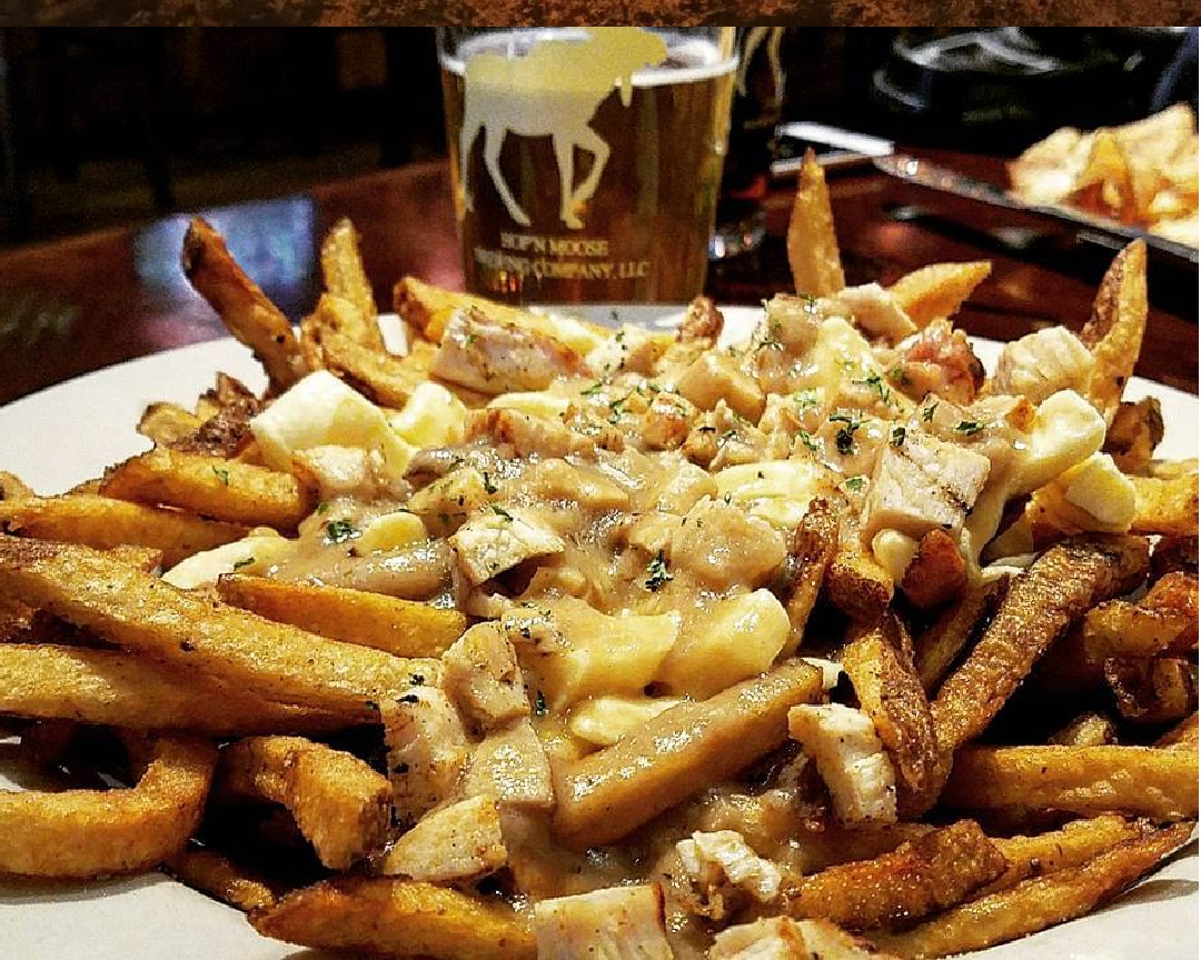 An order of poutine and a Rutland Beer Works Draft at Hop'N Moose.