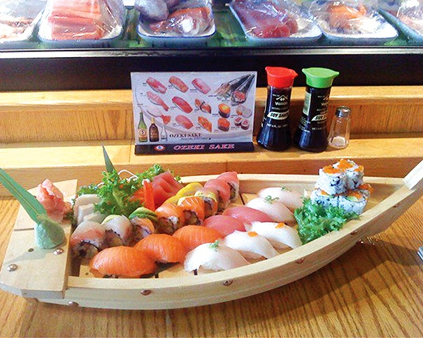 Sushi rolls on a serving boat at Tokyo House in Downtown Rutland.