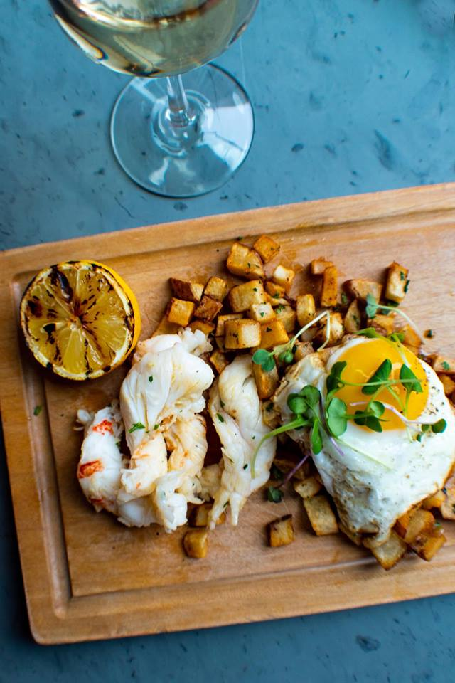 A crispy potato hash with sunny-side up eggs and butter-poached lobster. Photo credit: Martin Schreiner / Rutland Foodie