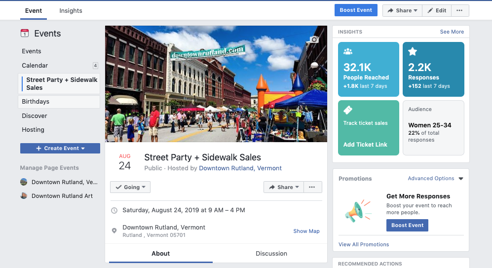 A screenshot of the Street Party + Sidewalk Sales event page, showing event insights.