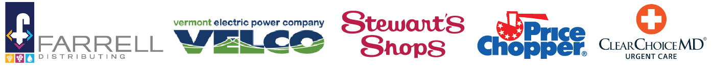 Sponsor logos for the 2019 Street Party in Downtown Rutland, Vermont.
