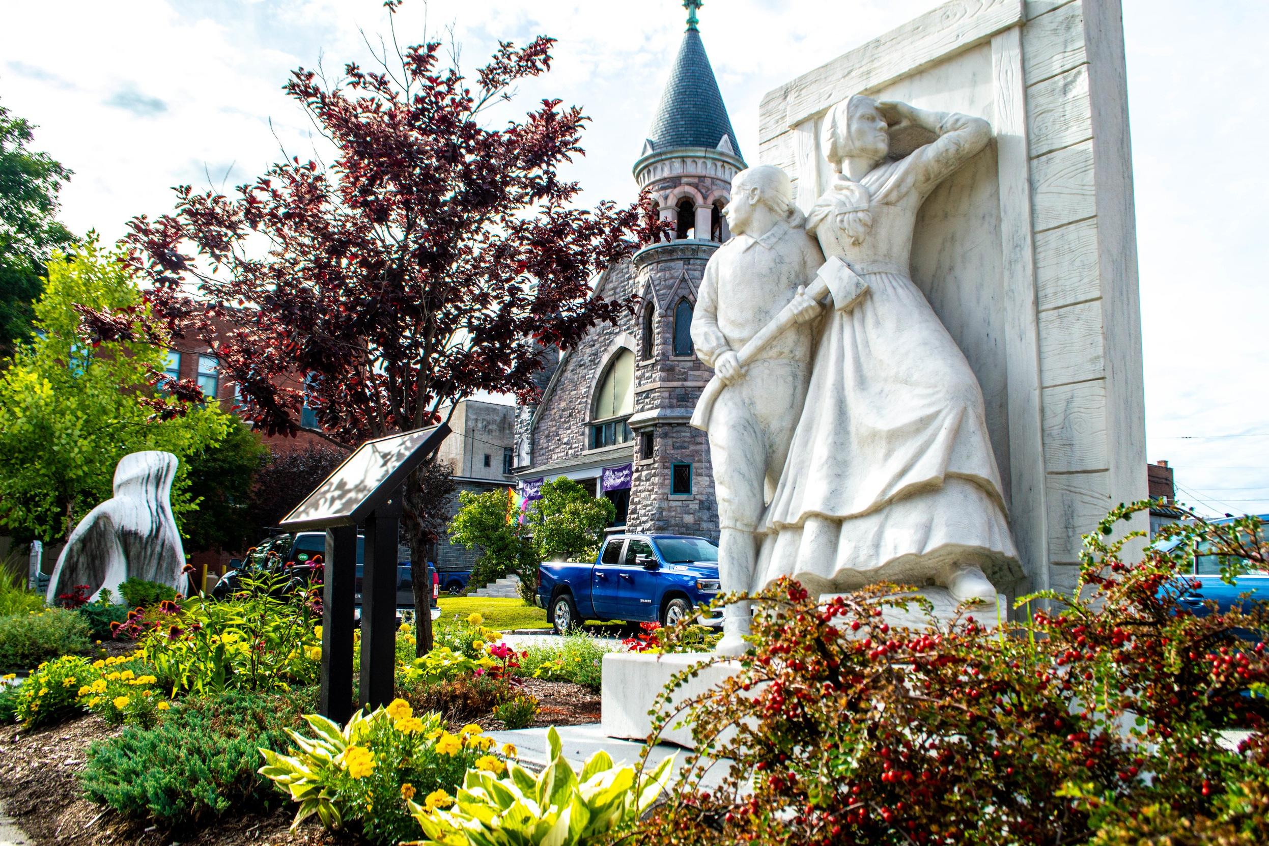 The West Street Pocket Garden in Downtown Rutland, Vermont.