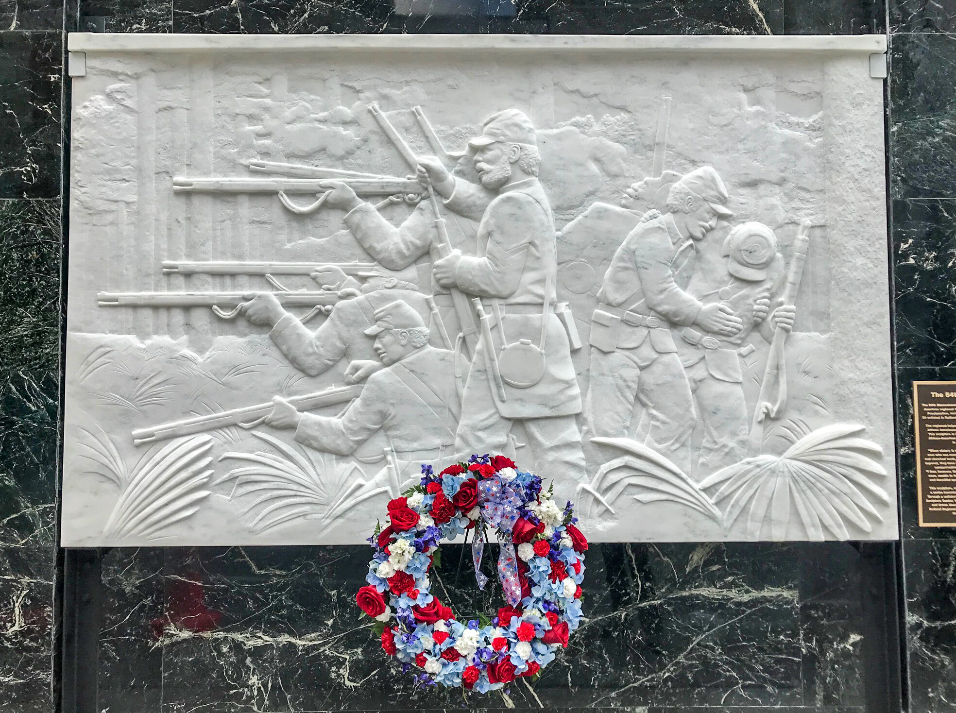 """""""54th Regiment,"""" designed and carved by Don Ramey, 2019, Chittenden Building."""