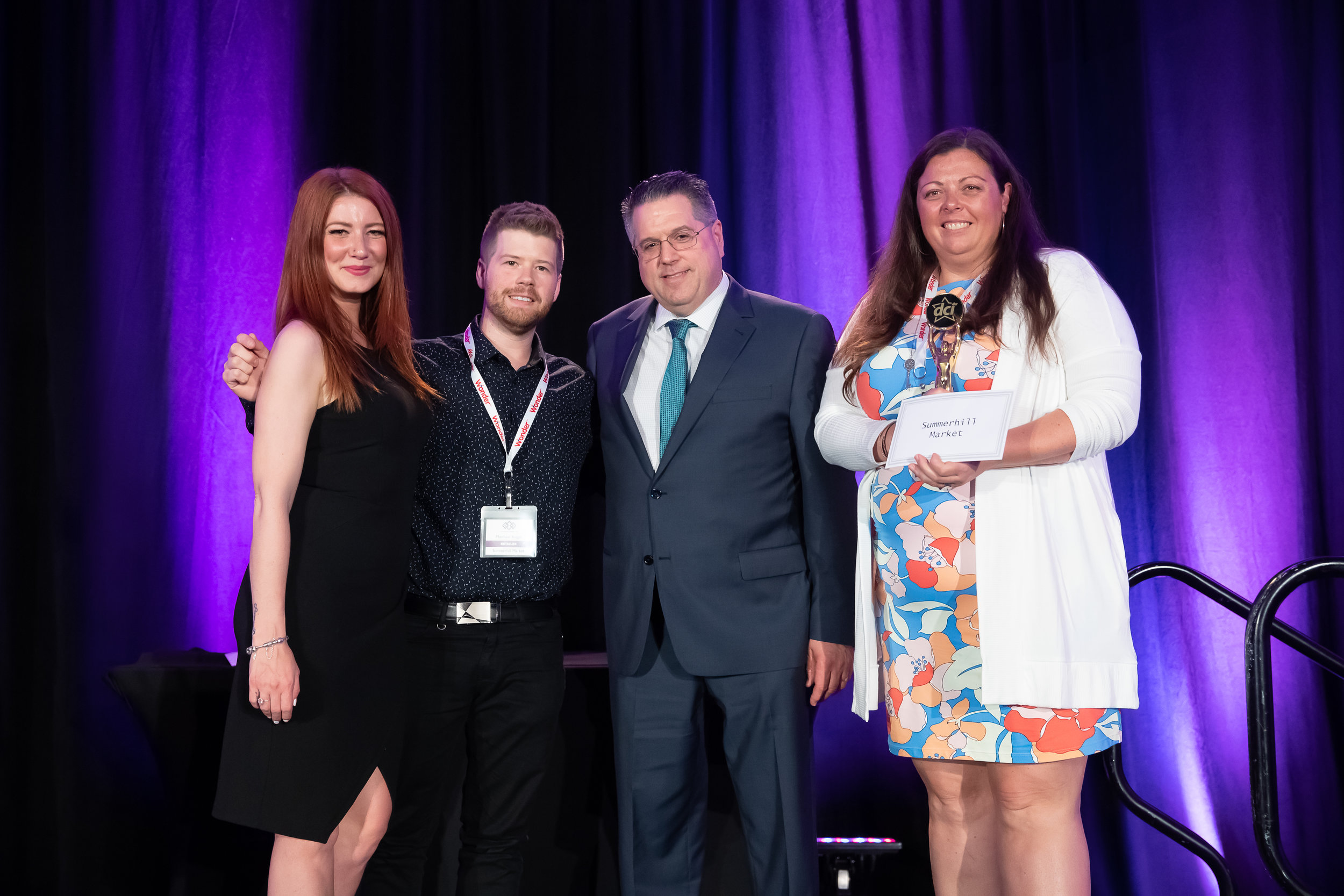 Star Awards Presenter Melissa Lynne-Schaffer, Matthew Rogger of Summerhill Market, DCI Chair David La Mantia of La Mantia's Country Market, and Christy McMullen of Summerhill Market