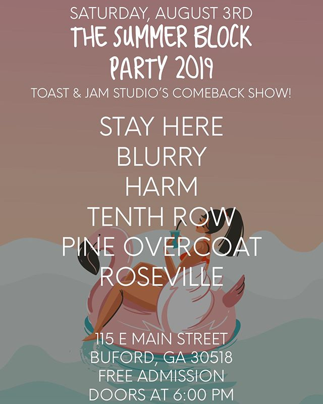 The Summer Block Party is BACK and this year it's at Toast & Jam to celebrate everyone's favorite studio being up and running again after the fire earlier this year! Also it's FREE so you have absolutely no reason not to be there. Come see us play with some of our very best friends and catch Grillmaster Jess™️ summon her powers to cook up some vegan burgers once again. Also, word on the street is there might be a slip n slide and a bounce castle — go ask @penguinbydom