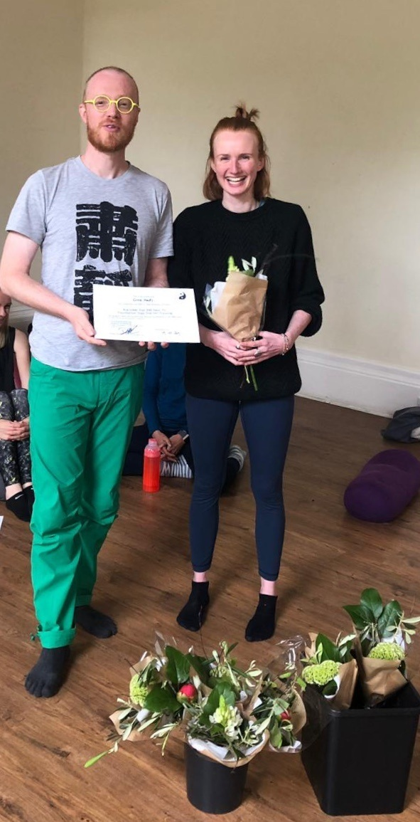 This is me, absolutely flipping delighted, getting my 200 Hour Yin Teaching qualification with my teacher, Dhugal. One of the best days of my life! Really and truly.