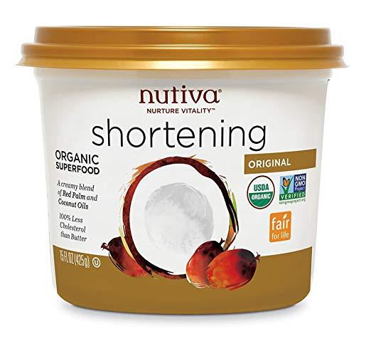 Nutiva USDA Certified Organic, non-GMO Fair for Life Red Palm and Coconut Shortening