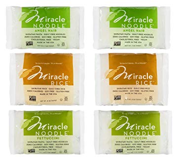 Miracle Noodle Zero Carb, Gluten Free Shirataki Pasta and Rice, 6 bag Variety Pack