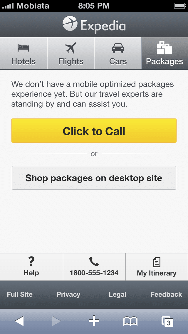 Mobile web experience before redesign