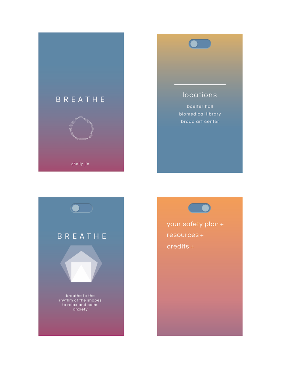 Breathe    BREATHE is a geo-locational meditation phone application for UCLA students, aimed to relieve anxiety and provide a location-based mindfulness meditation at three location points: Boelter Hall, Biomed Library, and Broad Art Center. Each meditation is site-specific, calling attention to specific sculptures or plants around the user, with correlating interactive elements and animations.