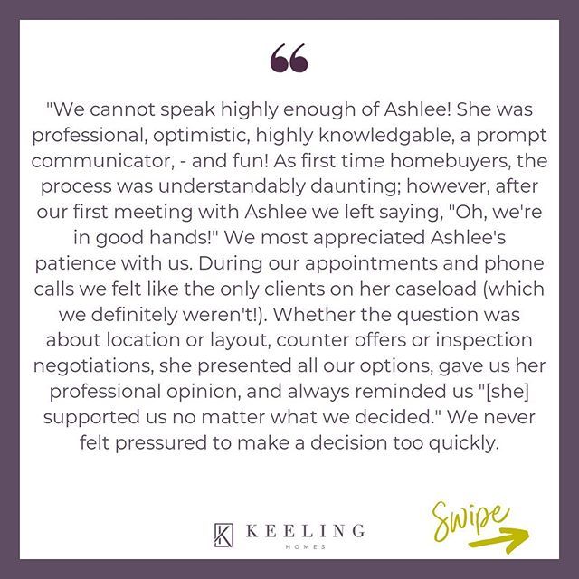 This is why we do what we do! 🙌⁠⠀ ⁠⠀ For first-time homebuyers, the process can seem so overwhelming and intimidating. That's why having an agent you trust by your side is SO important. ⁠⠀ ⁠⠀ Thank you so much to Ashlee's buyers for this review!⁠⠀ ⁠⠀ Let us help you buy/sell your next home...⁠⠀ 📞 608-616-0115 ⠀⁠⠀ 💌 homes@keelinghomes.com⠀⁠⠀ 💻 LINK IN BIO⁠⠀ ⁠⠀ ⁠⠀ ⁠⠀ ⁠⠀ ⁠⠀ ⁠⠀ ⁠⠀ ⁠⠀ ⁠⠀ ⁠⠀ ........................................................⁠⠀ ⁠⠀ ⁠⠀ #madison #wisconsin #househunting #homeowner #madisonwisconsin #curbappeal #realtor  #wisconsinrealestate #hustle #wisconsinhomes #realestateagent #entrepreneur #acceptedoffer  #home ⁠⠀ #Interiordesign #hgtv #architecture #design #homesweethome