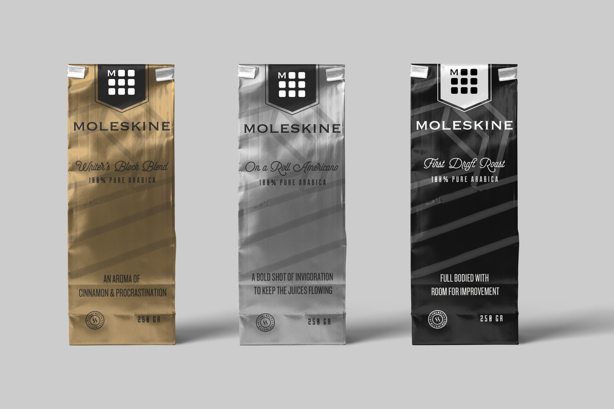 Moleskine Coffee blends give you an extra boost to start creating.  Writer's Block Blend, with an aroma of cinnamon and procrastination. On a Roll Americano, offering a bold shot of invigoration to keep the juices flowing. First Draft Roast, full-bodied with room for improvement.