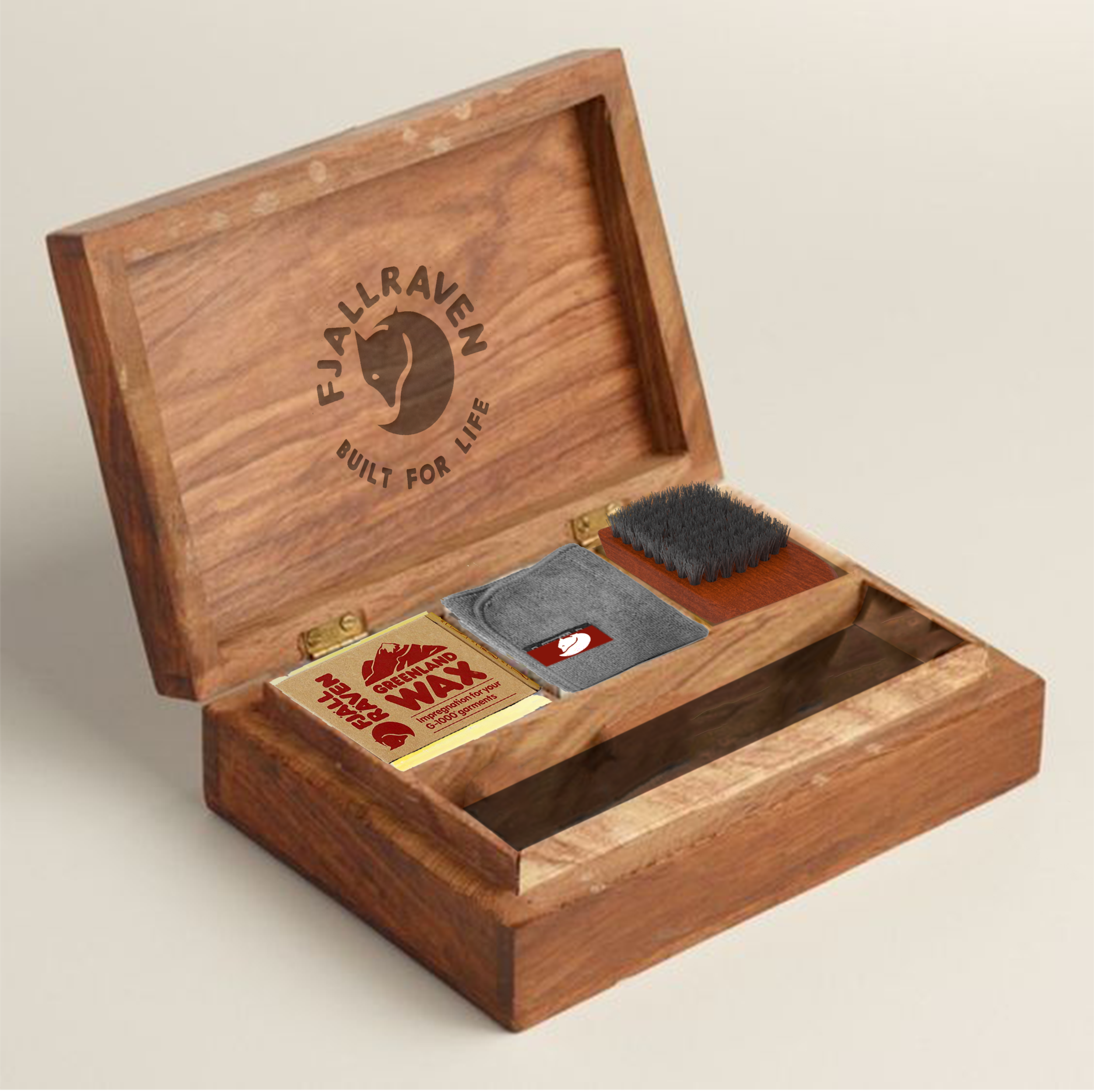 Care kit with Greenland Wax, cleaning cloth and brush to help maintain the life of the coat. The box doubles as a place to keep souvenirs from treks.