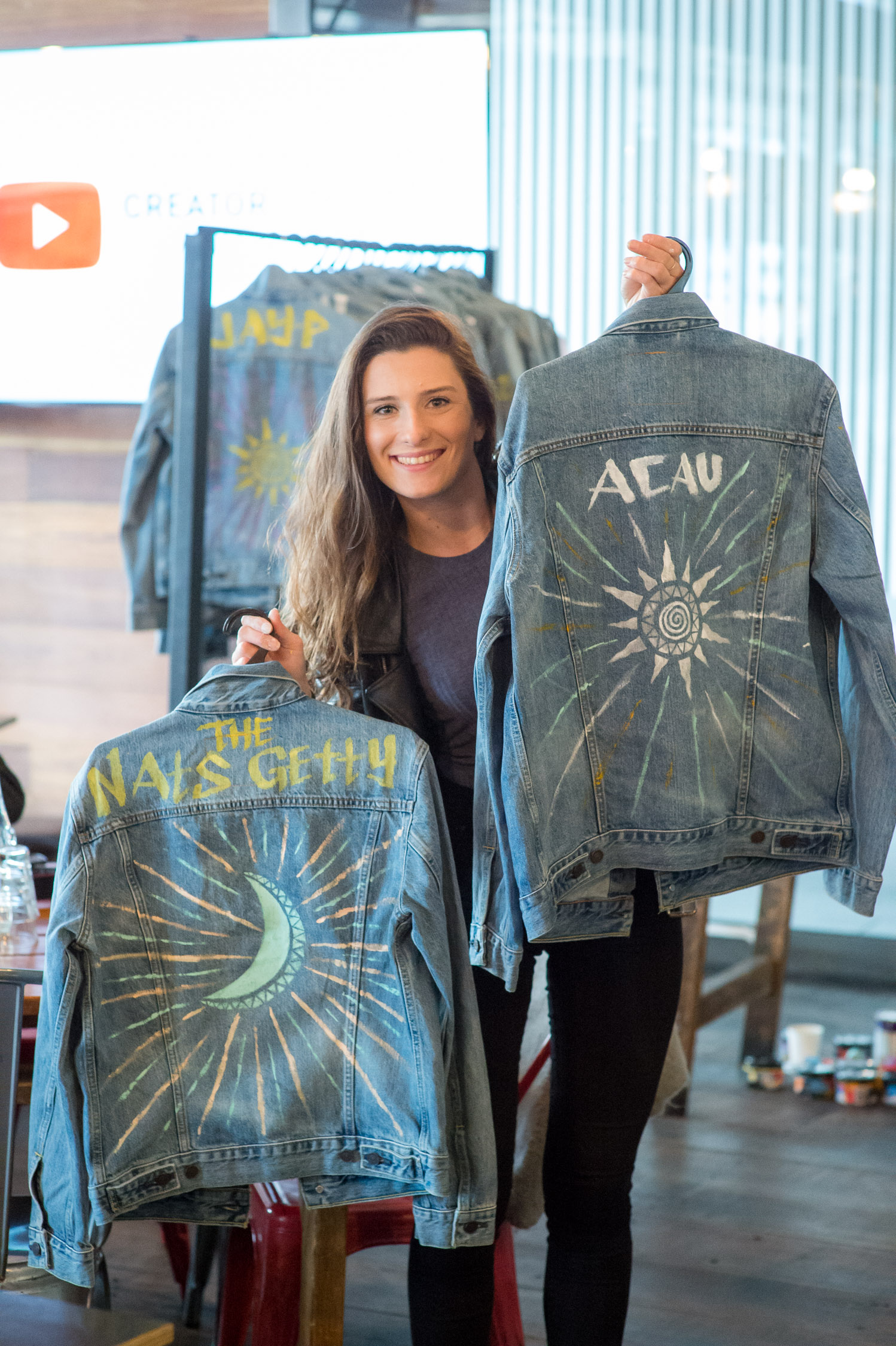 Jackets I painted and personalised for YouTubers