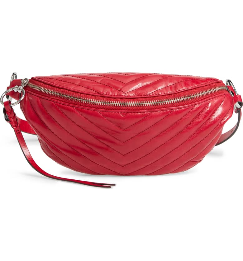 Red Leather Quilted Belt Bag