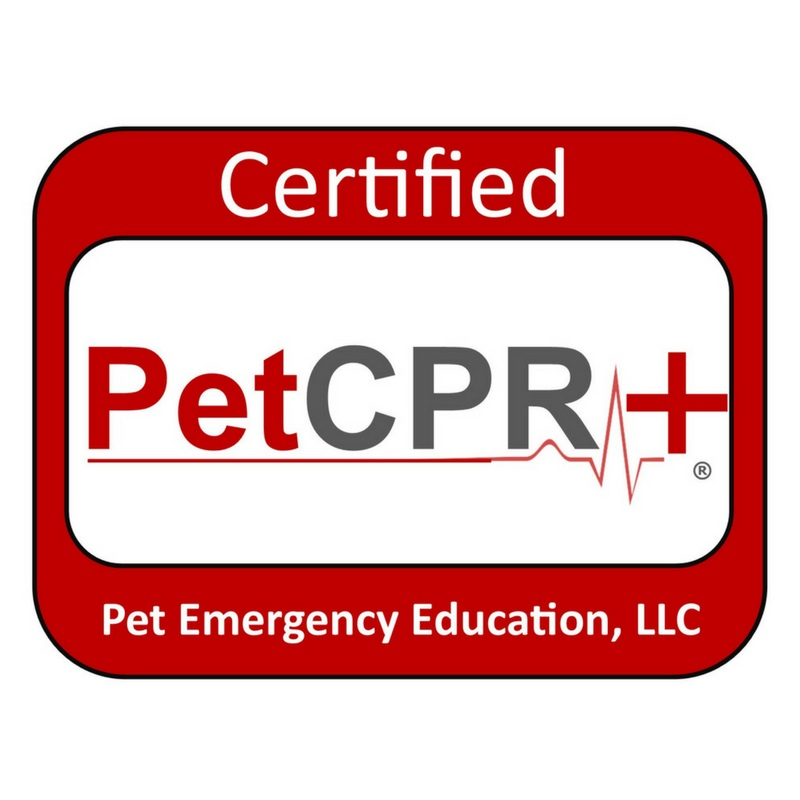 Canine and Feline CPR and First Aid certified by Pet Emergency Education.