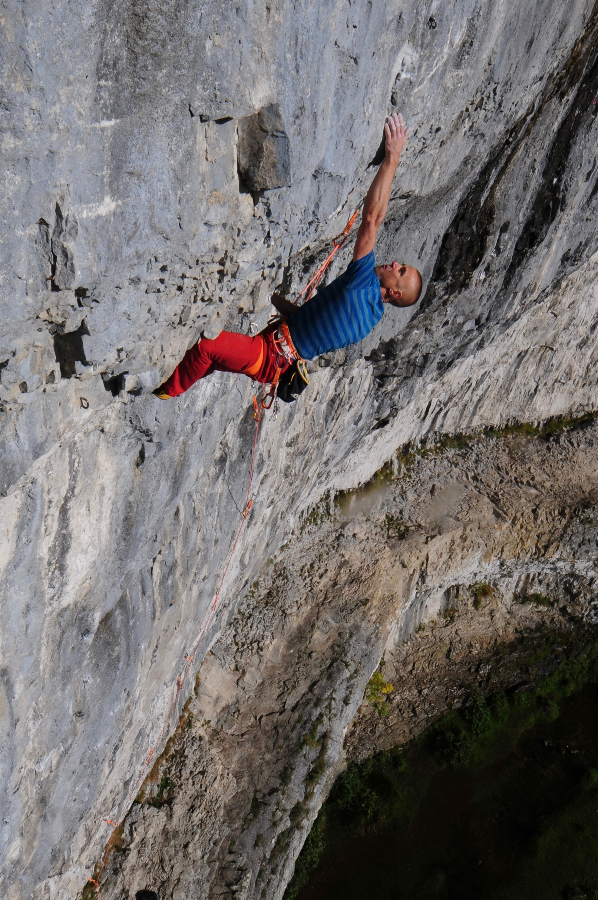 Putting his methods into practice - Neil on the first ascent of Sabotage 8c+/9a, Malham Cove in 2016. Photo: Ian Parnell