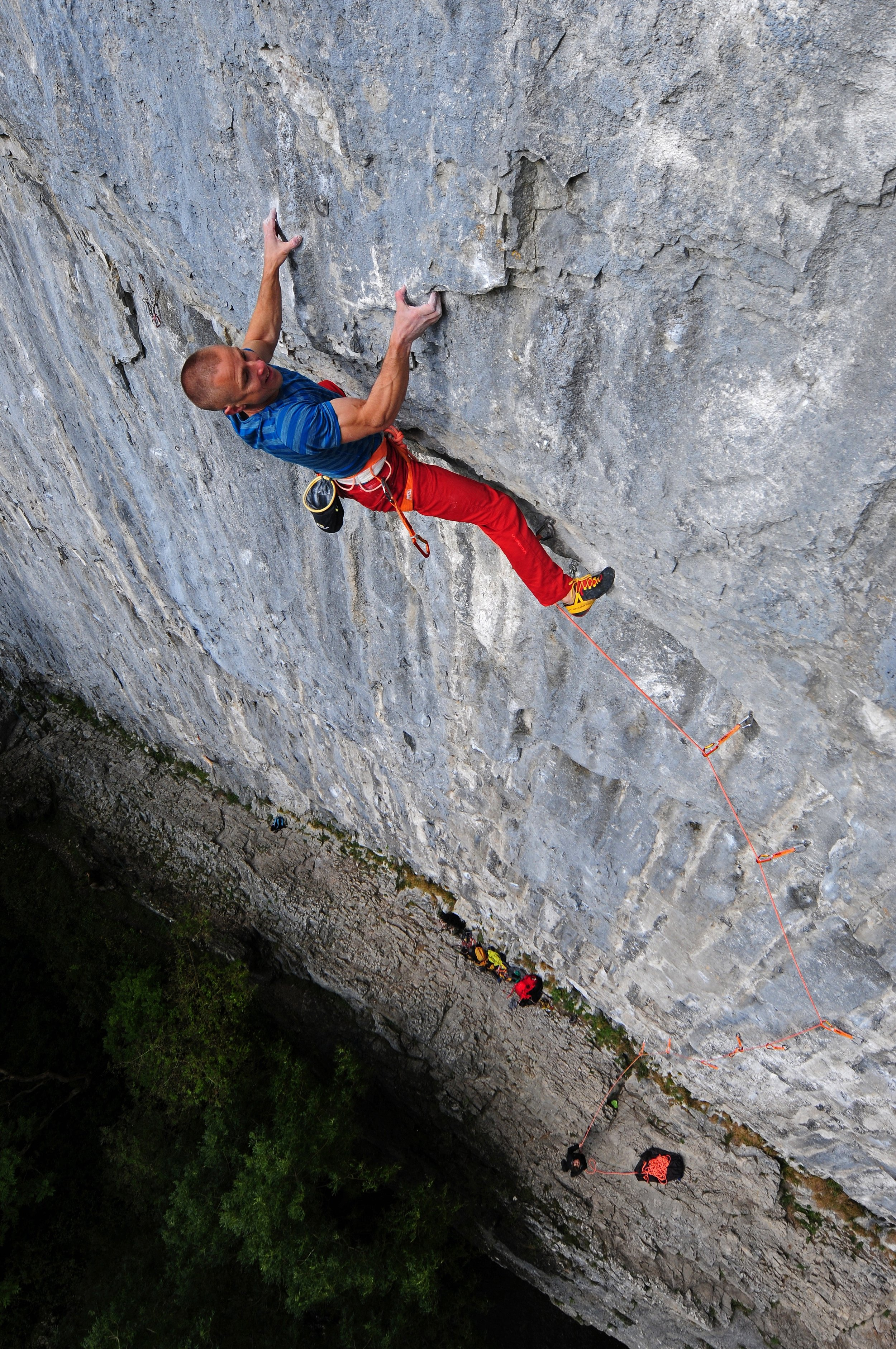 First ascent of Sabotage 8c+, Malham Cove in 2016. Photo: Ian Parnell