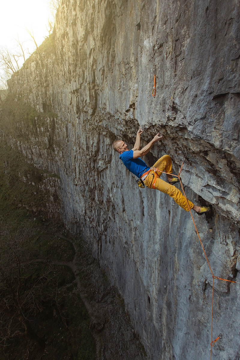 Straight Jacket 8a+/b, Malham Cove, UK.  Photo: Copyright Lukasz Warzecha