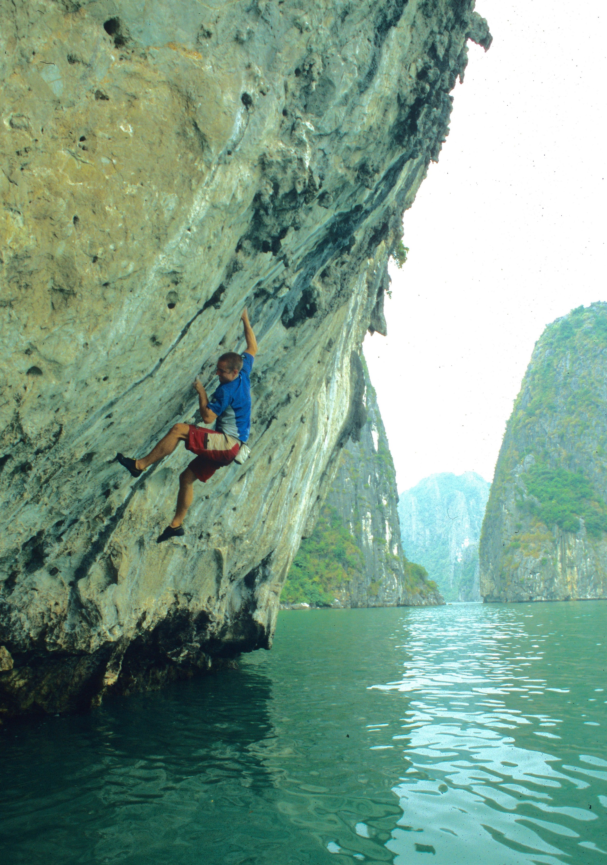 Arachnophobia 7b, Cathedral Rock. First ascent in 2003.  Photo: Gresham collection.