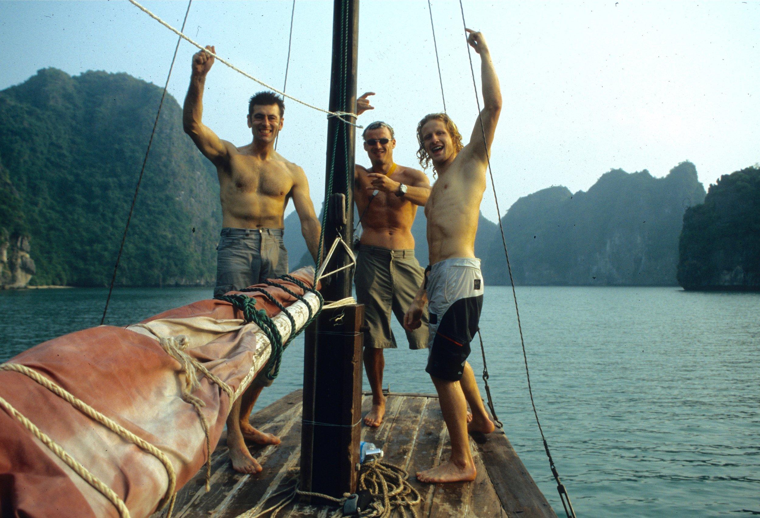 Jubilant Vietnam team 2003: Seb Grieve, Grant Farquhar & Tim Emmett. Photo: Gresham collection.