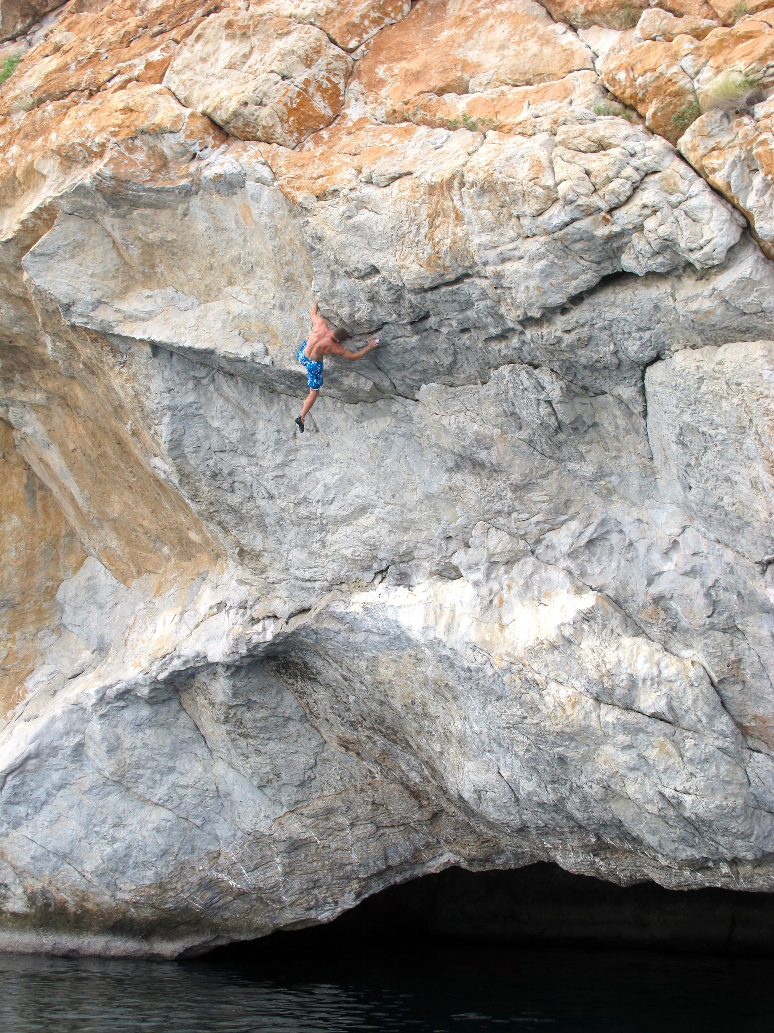 Generation X 7b+, Gen's Cave, Dibba, First ascent in 2011.  Photo: Gresham collection.