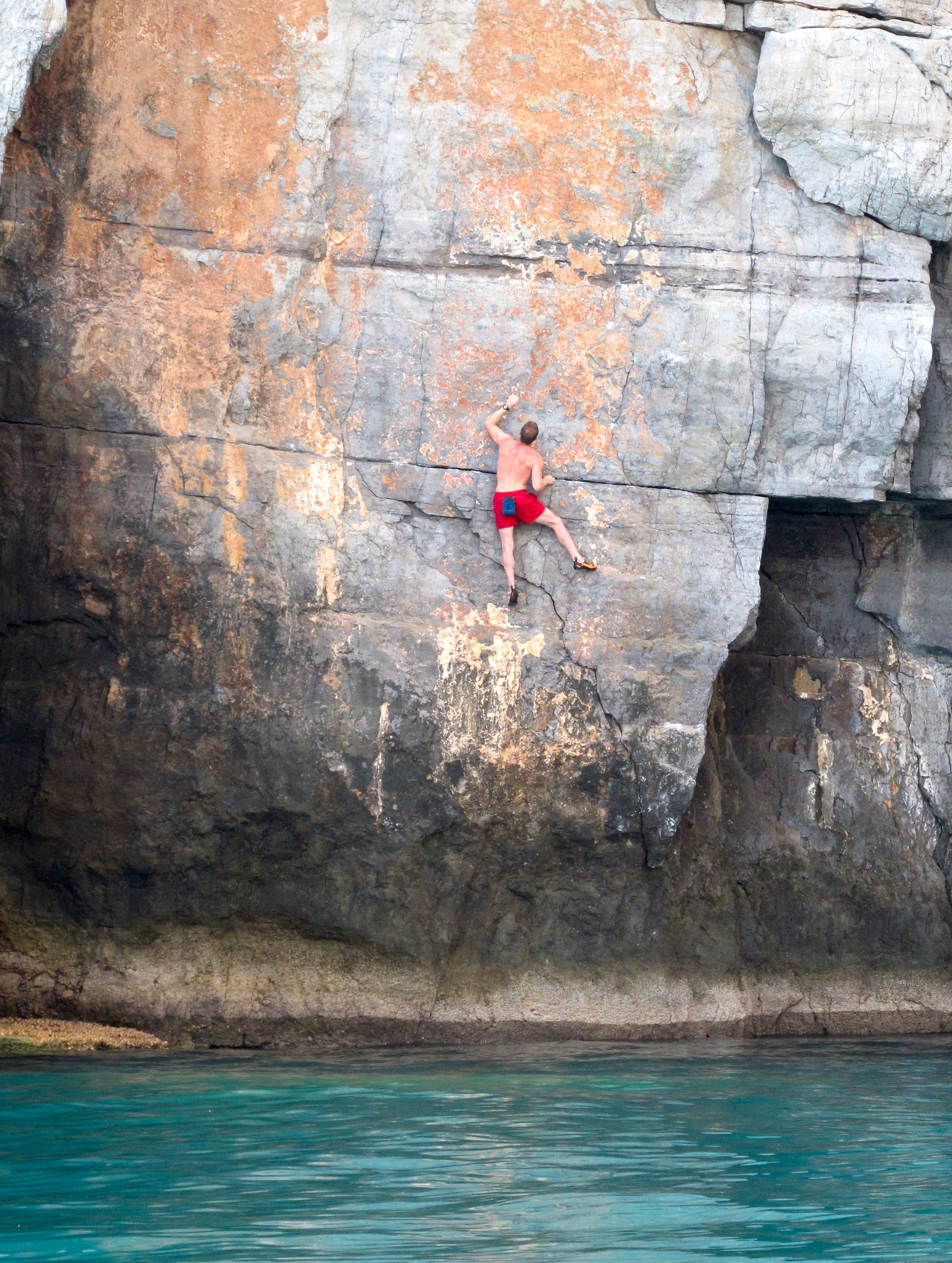 Tim Emmett making the second ascent of Dreaming of Trevallen 6c, Big Wall Bay, Dibba in 2011.  Photo: Gresham collection.