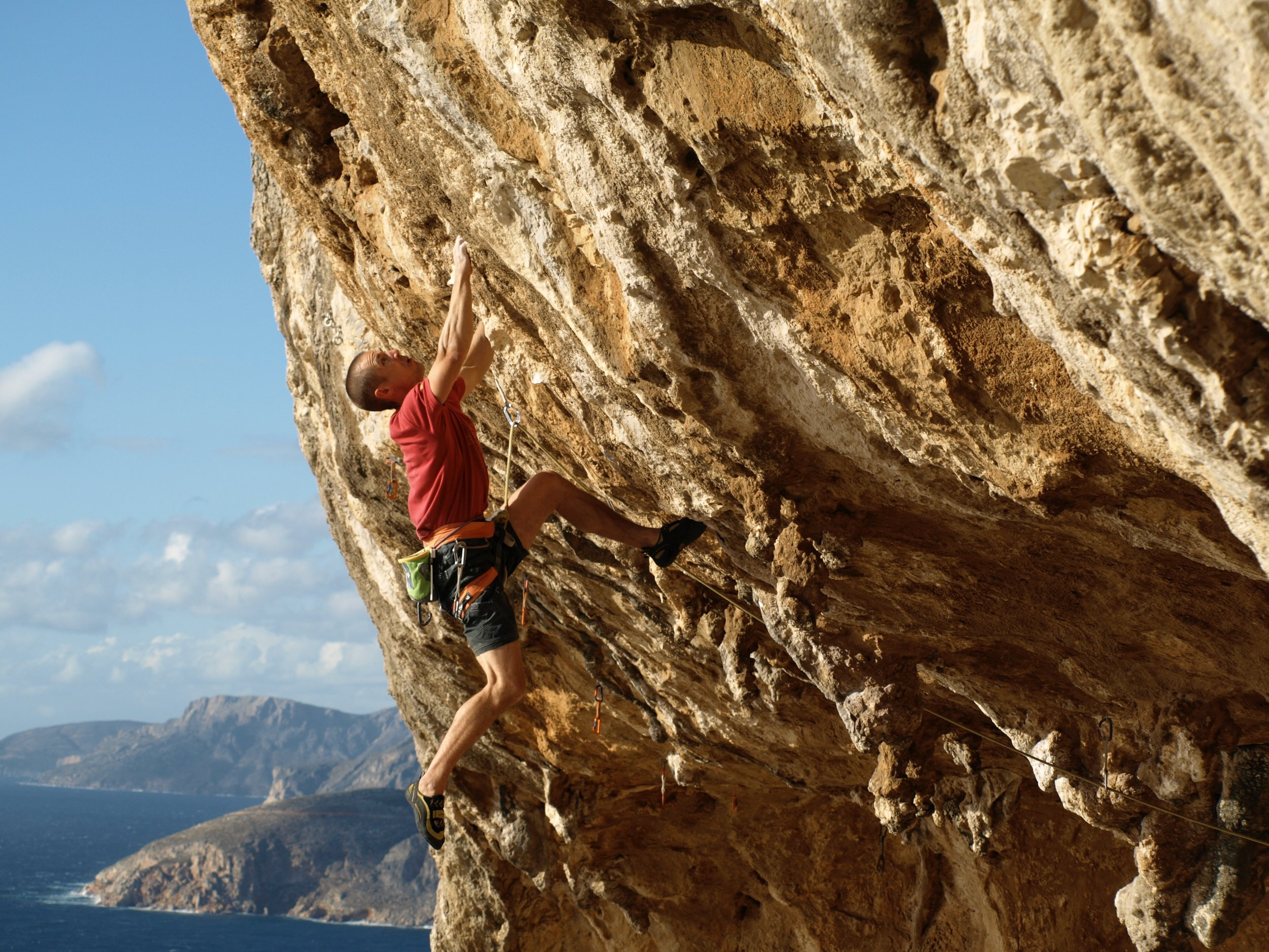 Valley of the Dolls 8a+/b, Kalymnos. First ascent in 2009.  Photo: Nathan Rogers