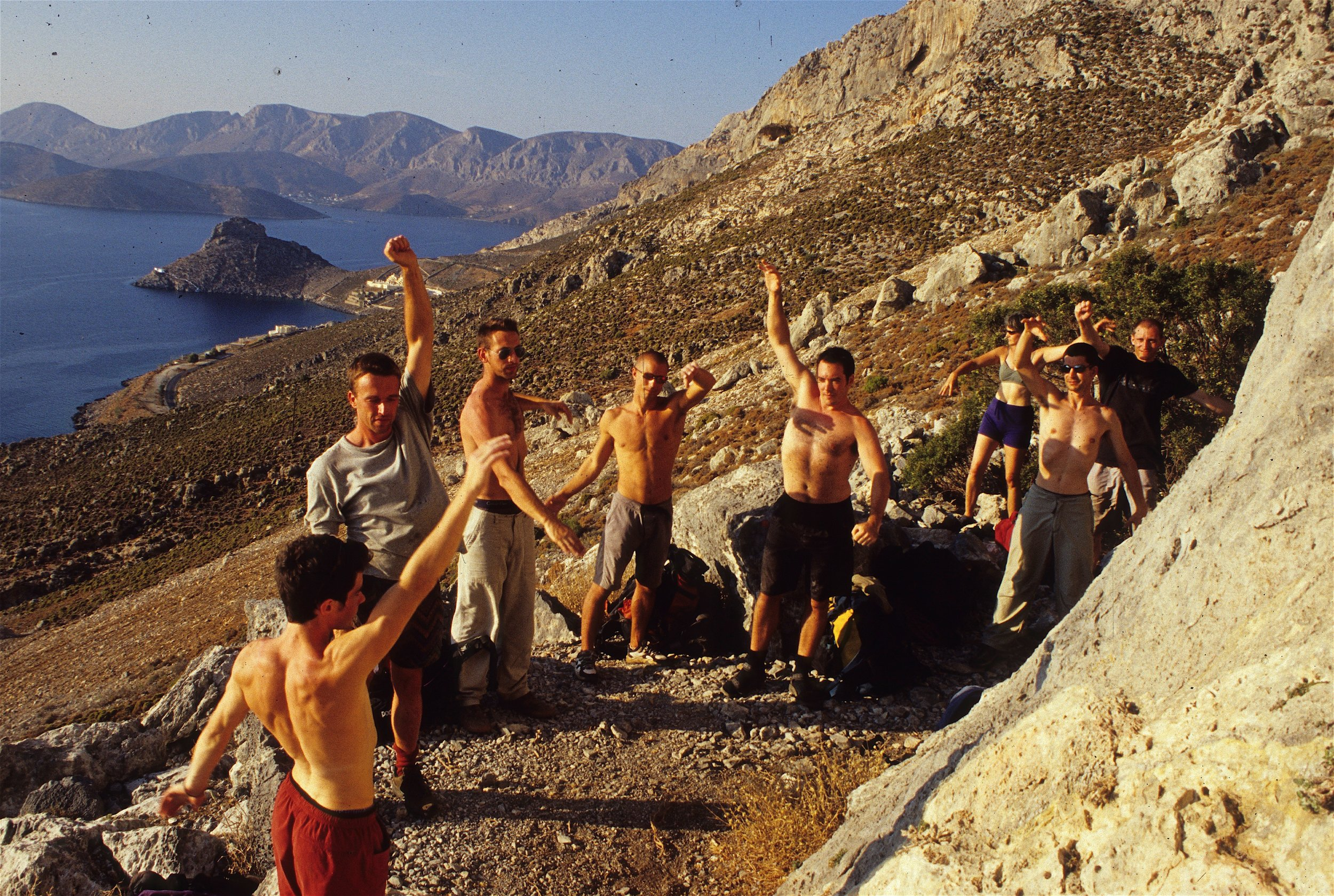 Neil running the first coaching holidays in Kalymnos in 2001.  Photo: Gresham collection