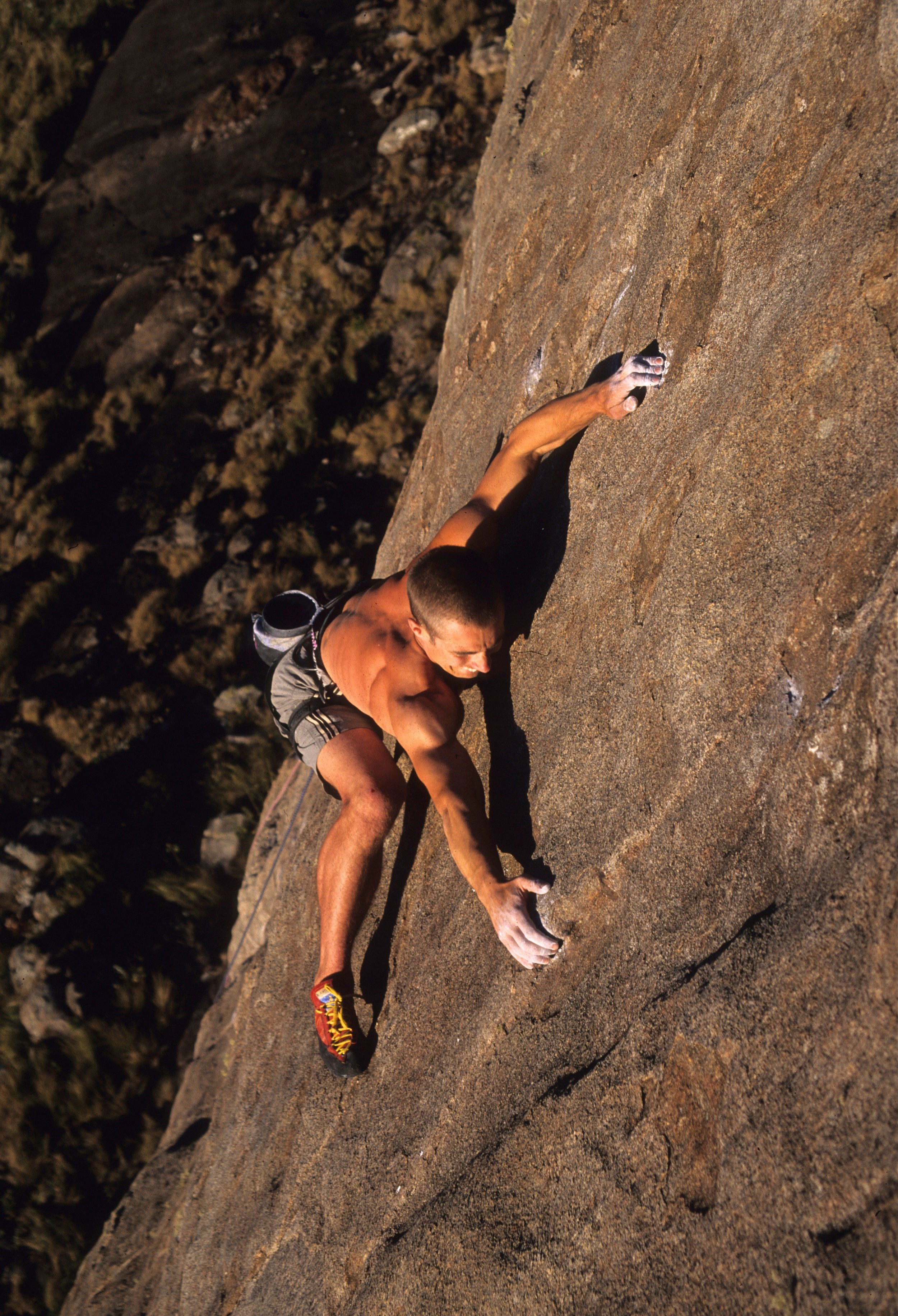 The delicate and poorly protected crux of Boiling Point E8 6b, Brazil. First ascent in 2000.  Photo: Mike Robertson