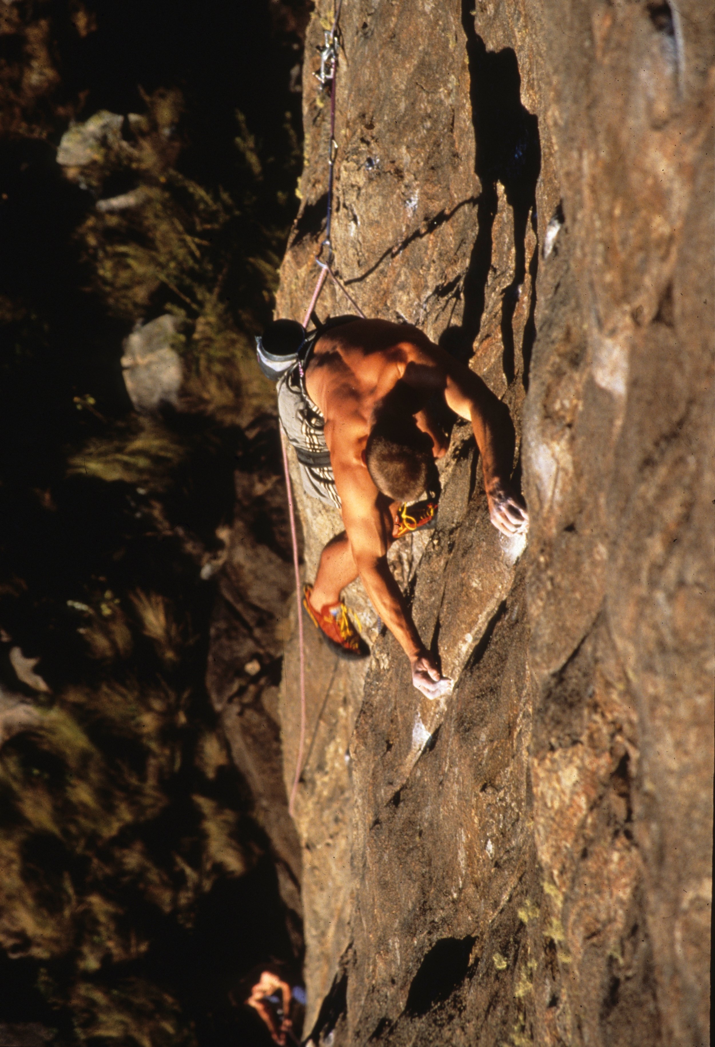 Boiling Point E8 6b, Itachaia. First ascent in 2000.  Photo: Mike Robertson